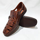 Чоловічі шкіряні туфлі літні, прошиті (Валкер) перфорація коричневі, фото 2