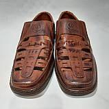 Мужские кожаные туфли летние, прошитые (Валкер) перфорация коричневые, фото 3