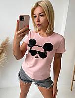 Трикотажная молодежная футболка для девушек Микки размер 42-50, цвет уточняйте при заказе, фото 1