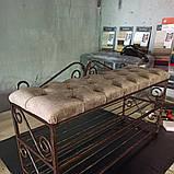 Кованая банкетка с двумя полками для  обуви в прихожую., фото 2
