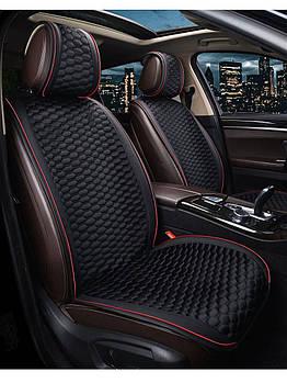 Накидки для передніх сидінь Алькантара Elegant Palermo Premium Чорні Червоний кант 2 шт