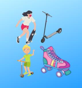Ролики, скейтборди та самокати