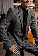 Классический мужской костюм серый в клетку BOTTEGA 1, фото 1