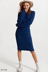 Вязаное платье-джемпер синее