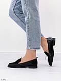 Жіночі лофери -туфлі чорні з декором еко шкіра пітон + замш, фото 6