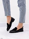 Жіночі лофери -туфлі чорні з декором еко шкіра пітон + замш, фото 3