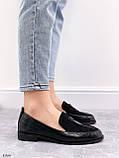 Жіночі лофери -туфлі чорні з декором еко шкіра пітон + замш, фото 5