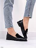 Жіночі лофери -туфлі чорні з декором еко шкіра пітон + замш, фото 4