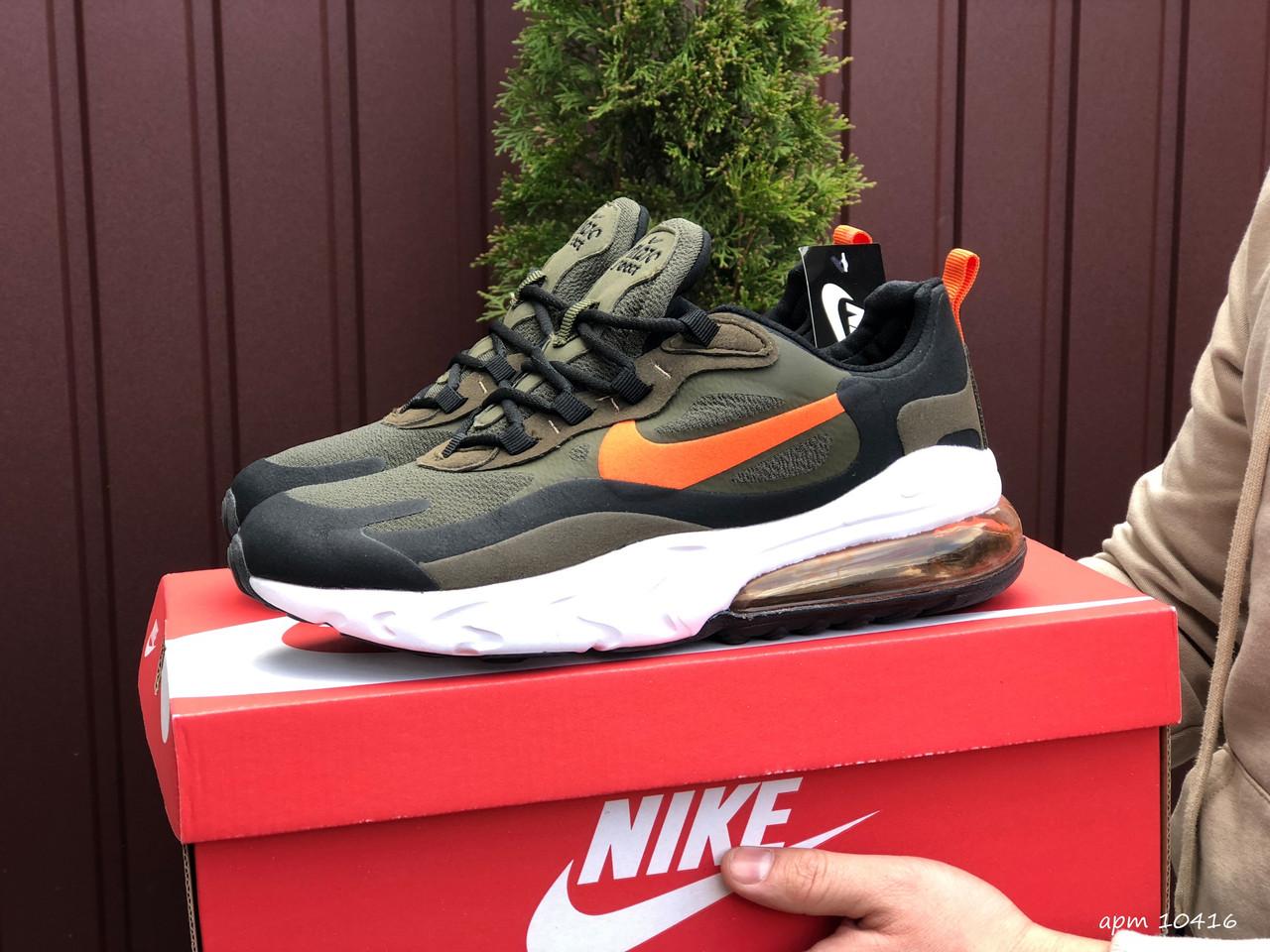 Мужские кроссовки Nike Air Max 270 React зеленые / текстильные кроссовки Найк Реакт (Топ реплика ААА+)