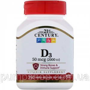 Вітамін Д-3 21st century Vitamin D3 2000 IU 250 капс.