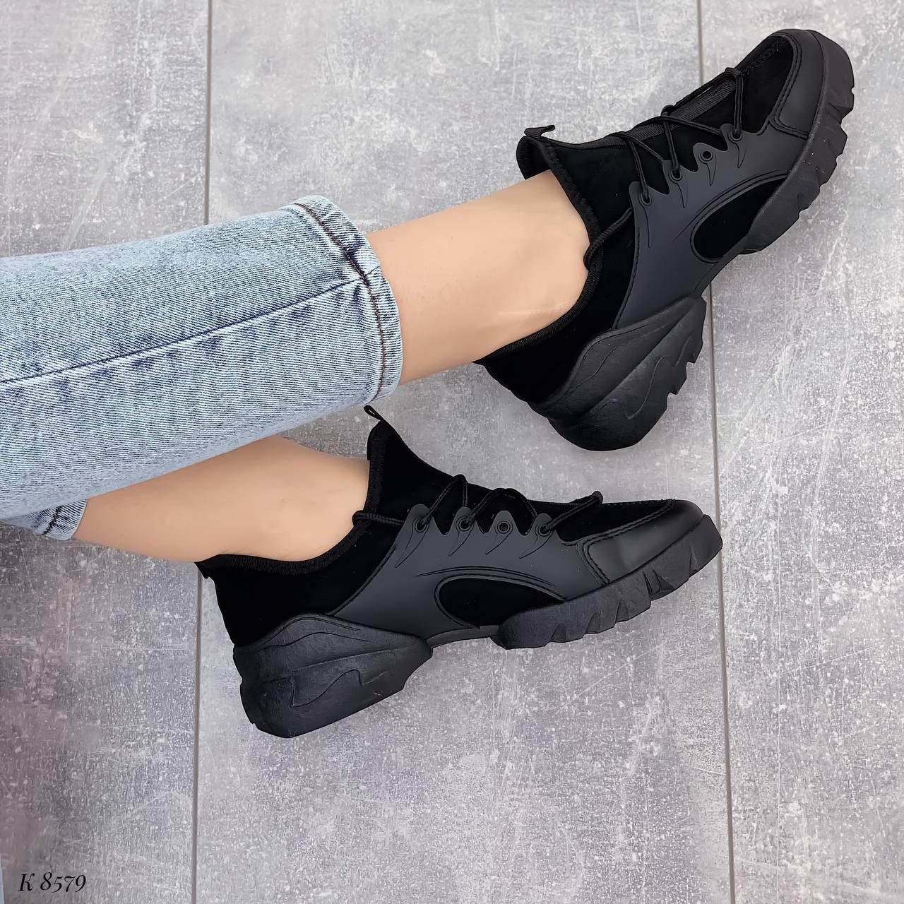 Тільки 39 р! Кросівки жіночі чорні текстиль + силікон/ гума весна-літо-осінь