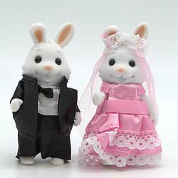 """Набір персонажів """"Щаслива сім'я"""" 2 флоксовие весільні зайчики."""
