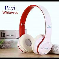 Бездротові Навушники P-47i Bluetooth + MicroSD + FM Радіо Білі з Червоним