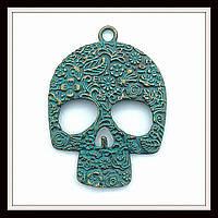 """Метал. подвеска """"череп"""" бронза с патиной (6,5*4,7 см) 1 шт в уп."""