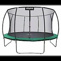 Батут Atleto 374 см з внутрішньою сіткою зелений (2 місця)