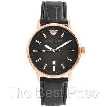Годинники наручні Emporio Armani Black ремінець чорний (репліка)