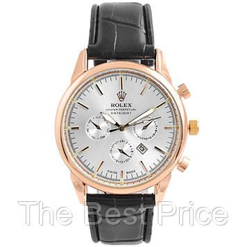 Годинники наручні Rolex White ремінець чорний (репліка)
