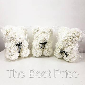 Найкращий подарунок ведмедик з штучних 3D троянд 25 см. Колір білий