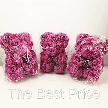 Найкращий подарунок ведмедик з штучних 3D троянд 25 см. Колір фіолетовий