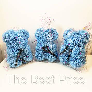 Кращий подарунок ведмедик з штучних 3D троянд 25 см. Колір блакитний