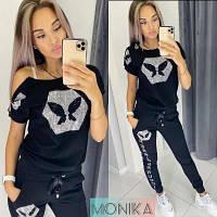 Женский летний спортивный костюм с футболкой норма и батал новинка 2021