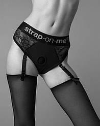 Кружевные трусы для страпона с подвязками для чулок Strap-On-Me DIVA HARNESS - M