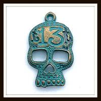 """Метал. подвеска """"череп-13"""" бронза с патиной (3,8*2,4 см) 2 шт в уп."""
