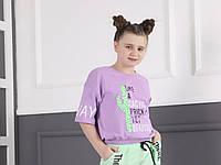 Подростковая трикотажная футболка-топ для девочки под резинку Like размер 8-16 лет, цвет уточняйте при заказе, фото 1