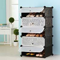 Шкаф пластиковый для обуви Storage Cube Cabinet «А1-5» 37x37x90 см. Черный, фото 1