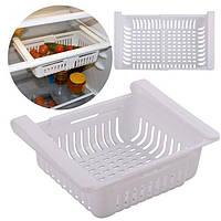 Раздвижной пластиковый контейнер для хранения продуктов в холодильнике Контейнер - органайзер Белый