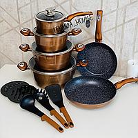 Набор кастрюль Edenberg с антипригарным мраморным покрытием 15 предметов. Набор кухонной посуды EB-5618