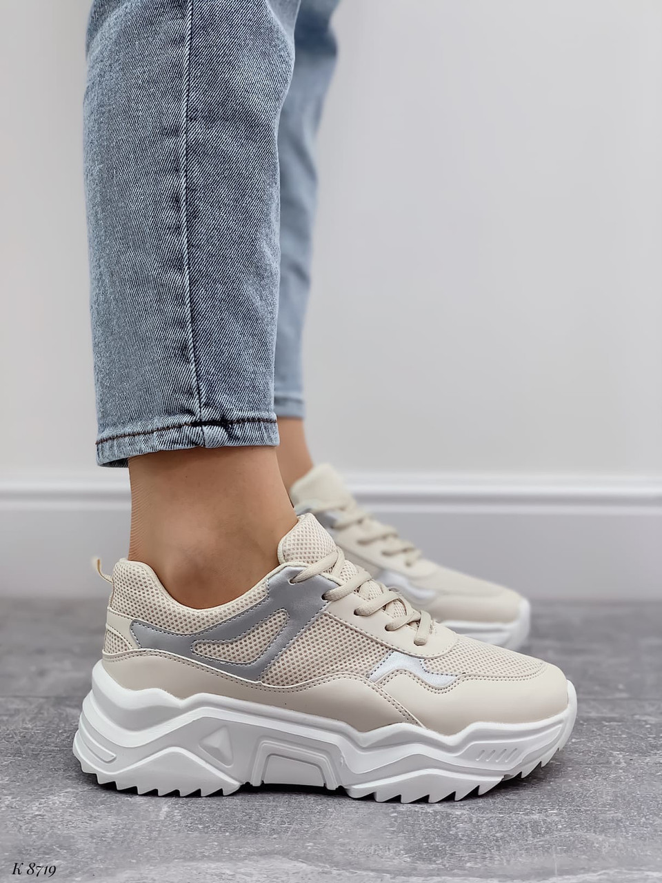 Жіночі кросівки білий/ беж з сріблом еко-шкіра + текстиль