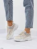 Жіночі кросівки білий/ беж з сріблом еко-шкіра + текстиль, фото 5