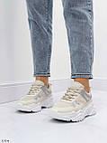 Жіночі кросівки білий/ беж з сріблом еко-шкіра + текстиль, фото 6