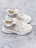 Жіночі кросівки білий/ беж з сріблом еко-шкіра + текстиль, фото 3