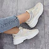 Жіночі кросівки білий/ беж з сріблом еко-шкіра + текстиль, фото 2