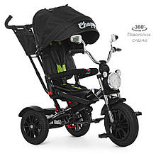 Велосипед M 4056HA-20 три кол.резина (12/10),колясочн,поворот,муз,черный, зеленые ремни