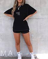 Женский летний спортивный прогулочный костюм-двойка с футболкой и шортами (Норма), фото 3