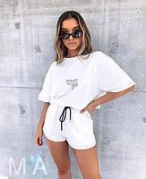Женский летний спортивный прогулочный костюм-двойка с футболкой и шортами (Норма), фото 4
