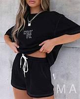 Жіночий літній спортивний прогулянковий костюм-двійка з футболкою і шортами (Норма), фото 2