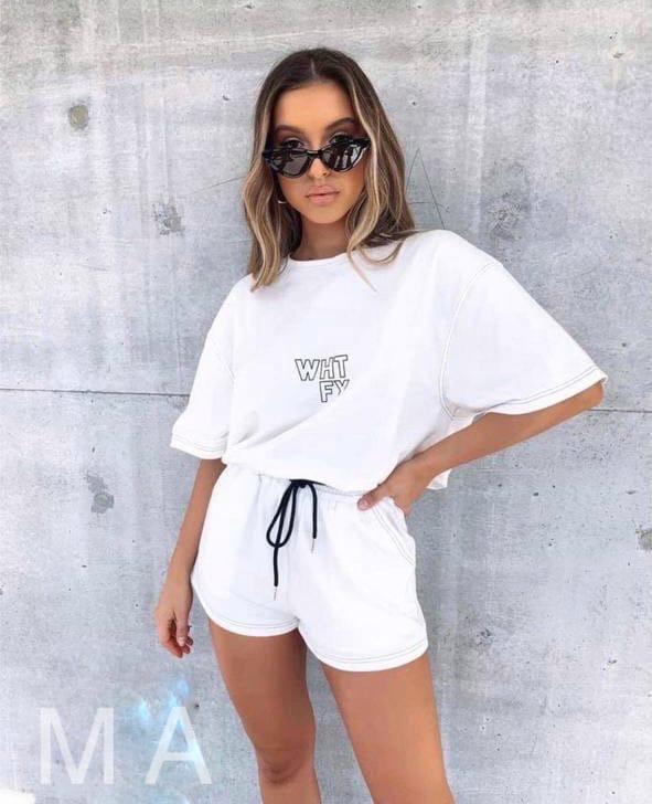Жіночий літній спортивний прогулянковий костюм-двійка з футболкою і шортами (Норма)