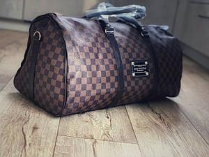 Сумка ручная кладь дорожная Louis Vuitton LV в клетку Brown (реплика)