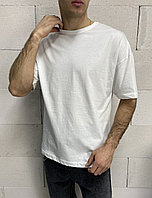 Мужская белая однотонная футболка турецкая, модная стильная футболка оверсайз S M L XL