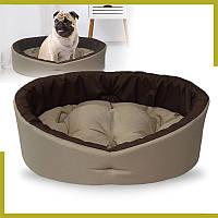 Лежак для собак и котов бежевый с коричневым - лежанка S