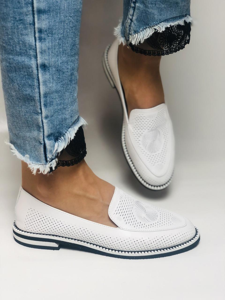 Evromoda. Жіночі літні туфлі-балетки з перфорацією білого кольору. Туреччина. Розмір 36.38.39.40.Vellena