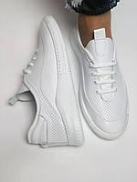 Evromoda. Женские белые кеды-кроссовки  из натуральной кожи. Размер 36,37,38,39,40, фото 2
