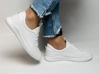 Evromoda. Женские белые кеды-кроссовки  из натуральной кожи. Размер 36,37,38,39,40