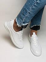 Evromoda. Женские белые кеды-кроссовки  из натуральной кожи. Размер 36,37,38,39,40, фото 10