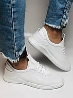 Evromoda. Женские белые кеды-кроссовки  из натуральной кожи. Размер 36,37,38,39,40, фото 9