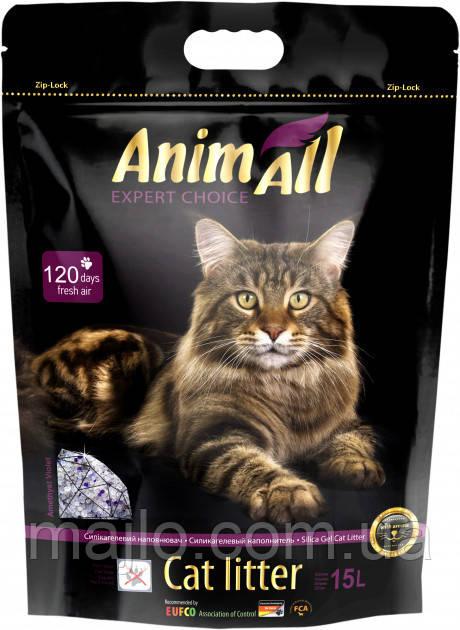"""Наполнитель для кошачьего туалета AnimAll """"Фиолетовый Аметист"""" Премиум Силикагелевый впитывающий 6.7 кг (15 л)"""